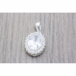 Colgante Plata Oval con zirconia color Cristal MOD.50993 EN PLATA DE LEY 925