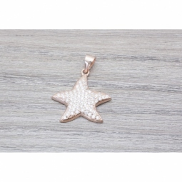 Colgante Plata Chapada en Oro Estrella de Mar micro setting MOD.51019 EN PLATA DE LEY 925