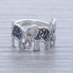 Anillo Plata Marquesita Tres Elefantes en Plata de Ley 925