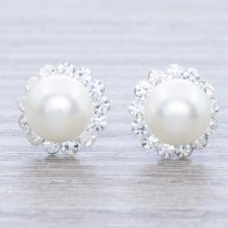 Pendiente Plata Circonia y Perla en Plata de Ley 925
