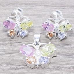 Conjunto en Plata De Ley 925 Circonia Mariposa Multicolor