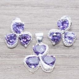 Conjunto en Plata De Ley 925 Circonia Triple Corazón