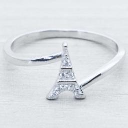 Anillo Plata Rodiada Torre Eiffel c/Circ.Plata de Ley 925