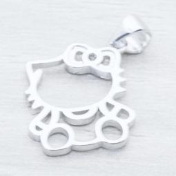 Colgante Plata Rod.c/ Circonia Gatita en Plata de Ley 925