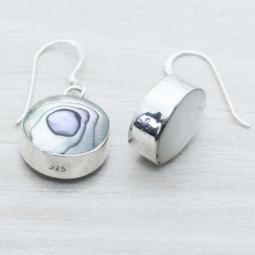 Pendiente Plata Abalon/Nacar Dos Caras Plata de Ley 925