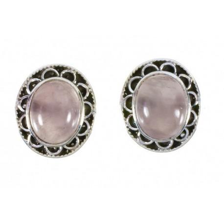 Pendiente Piedra Cuarzo Rosa en Plata de Ley 925