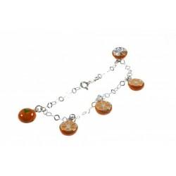 Pulsera Niña Esmaltada con naranjas colgando en Plata de Ley 925