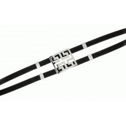Pulsera Plata y Caucho Mod.40430 en Plata de Ley 925