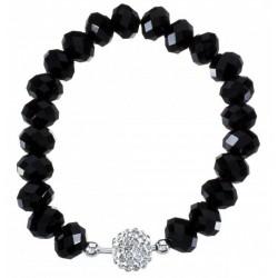 Pulsera de Cristal Negro con Bola de Zirconia en Plata de Ley 925