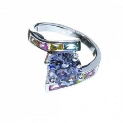 Anillo Cristal Preciosa Baguet color Mod. 1169 en Plata de Ley 925