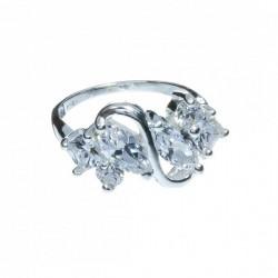 Anillo Cristal Preciosa dos flores Mod. 1170 en Plata de Ley 925