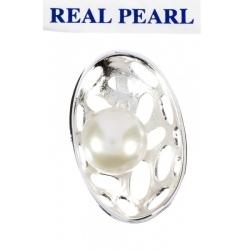 Colgante Perla Real Cultivada oval calado en Plata
