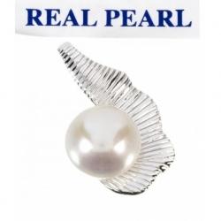 Colgante Perla Real Cultivada media concha en Plata