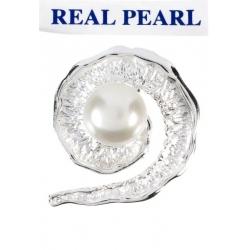 Colgante Perla Real Cultivada Caracola en Plata