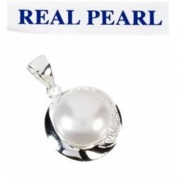 Colgante Perla Real Cultivada y Zirconia en Plata