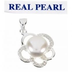 Colgante Perla Real Cultivada y Zirconia flor en Plata