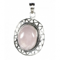 Colgante Oval Ornamenta Cuarzo Rosa Mod. 50094 en Plata