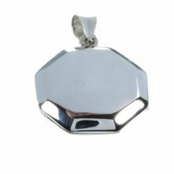 Colgante Guarda Pelo octogonal liso Mod.50081 en Plata