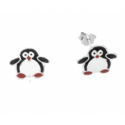 Pendiente Plata Esmaltado Niña Pingüino Mod.60792 En Plata De Ley 925
