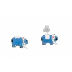 Pendiente Plata Esmaltado Niña Elefante Mod.60794 En Plata De Ley 925