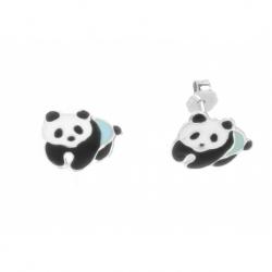 Pendiente Plata Esmaltado Niña Oso Panda Mod.60795 En Plata De Ley 925
