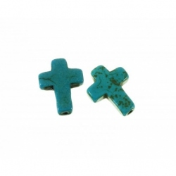 Abalorio de resina Cruz color turquesa Mod.21754 1
