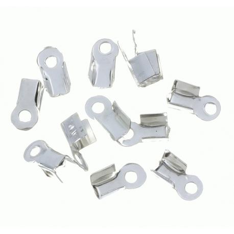 100 Unid. Terminal para cordon de 4,5 mm color plata Mod.21359 P