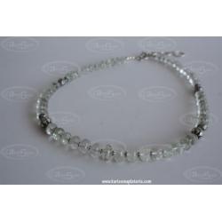 Collar Cuarzo Blanco Facetado Plata oxidada de ley 925