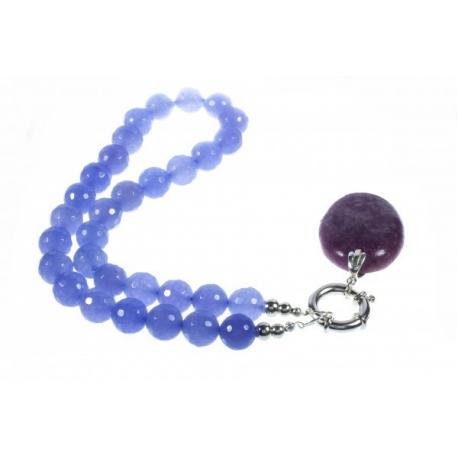 Collar Piedra Ágata Facetada colg. Estrella Purpura en Plata de ley 925