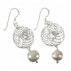 Pendiente perla cultivada real colgante en Plata de Ley 925