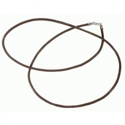 Cordón de Caucho color marrón, terminación en Plata de Ley 925 Mod.39073 1
