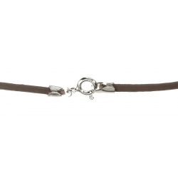 Cordón de Cuero color marrón, terminación en Plata de Ley 925 Mod.39083 2