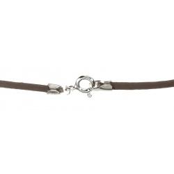 Cordón de Cuero color marrón, terminación en Plata de Ley 925 Mod.39083 3
