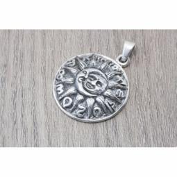 Colgante Sol y luna con horóscopo en plata oxidada MOD.50956 EN PLATA DE LEY 925