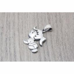 Colgante bebe/nena gateando en plata oxidada MOD.50959 EN PLATA DE LEY 925